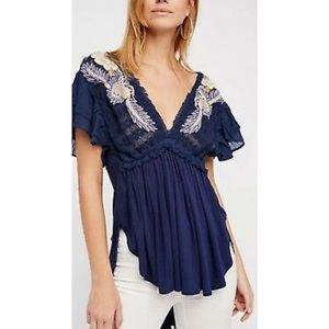 Free People Embroidered Top Anthropologie Blouse